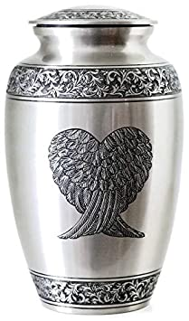 Guardian Angel Wings Silver Pewter Cremation Urn by Glow Choice Funeral Urns for Ashes Gift or Tribute Vase for Burial Memorial Beautiful Affordable