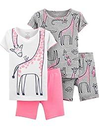 74d57fbe9 Girls' 4-Piece Snug Fit Cotton Pajamas