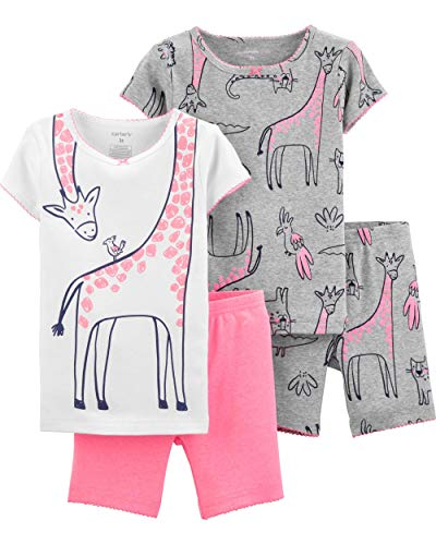 Carter's Toddler and Baby Girls' 4 Piece Cotton Pajama Set, Giraffe, -
