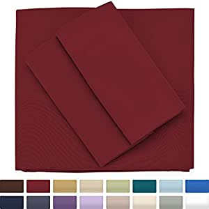 Premium Bamboo Bed Sheets - Queen Size, Burgundy Sheet Set - Deep Pocket - Ultra Soft Cool Bedding - Hypoallergenic Blend From Natural Bamboo - 1 Fitted, 1 Flat, 2 Pillow Cases - 4 Piece