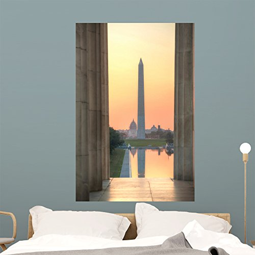 Wallmonkeys WM360470 Washington Memorial Monument in Washington Wall Decal Peel and Stick Graphic (48 in H x 32 in W) - Memorial Wall Dc