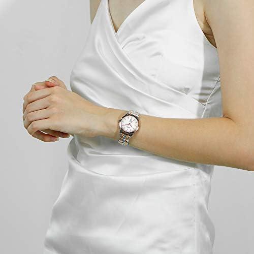 BUREI Women Quartz Watch Elegant Silver White Dial Date Display Rose Gold Two Tone Stainless Steel Bracelet Wristwatch for Lady
