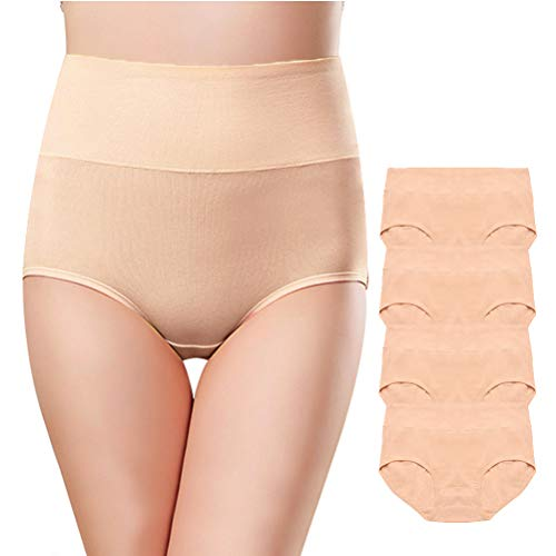 OUENZ Women's Cotton Underwear,Breathable Solid Comfortable High Waist Soft Briefs Panties for Women (Nude,4 Pack, Small) ()
