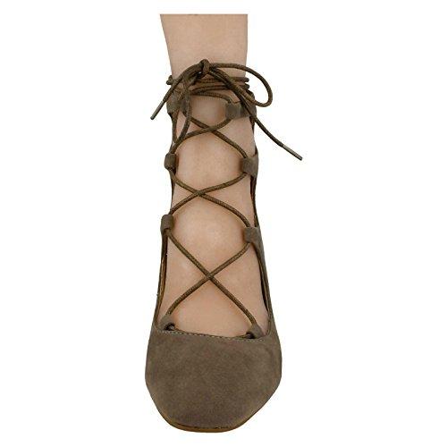 Spot On ,  Damen Durchgängies Plateau Sandalen mit Keilabsatz Taupe