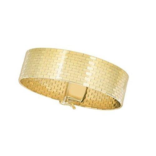 BH 5 Star Jewelry 14kt 7'' Yellow Gold Shiny Rectangular Brick Pattern Omega Fancy Bracelet with Box Clasp (17 mm) by BH 5 Star Jewelry