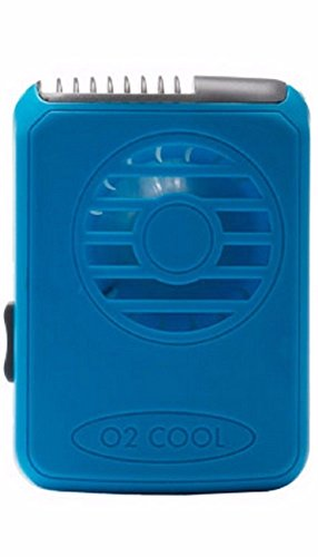 O2 Cool Deluxe Necklace Fan Personal Neck Fan Blows Air Upward (BLUE)