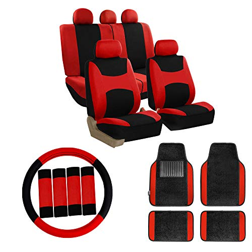 (FH GROUP FB030115 Combo Set: Light & Breezy Cloth Seat Cover Set + F11300BLACK Floor mats, Red/Black- Fit Most Car, Truck, SUV, or Van)