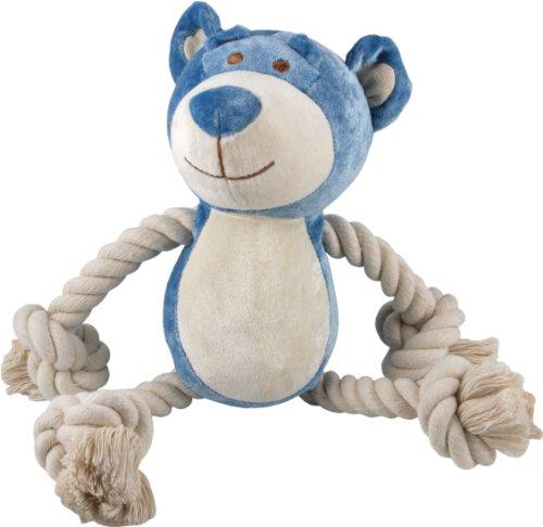 Simply Fido Bamboo Rayon Plush Rope Dog Toy, 10″, Wally Blue Bear, My Pet Supplies