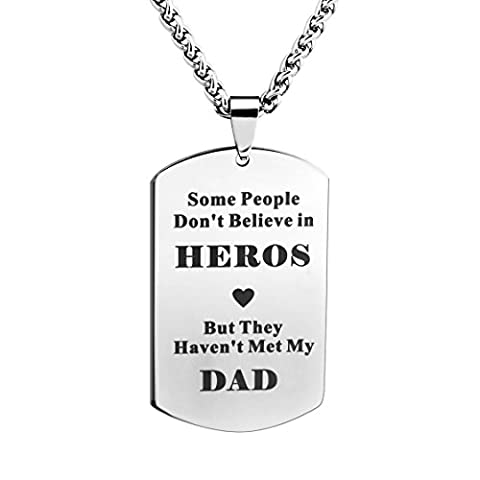 Meibai Stamped Stainless Steel Dog Tag Necklace Engraved Words for Dad with 24