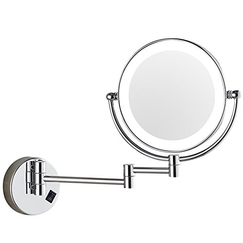 DOWRY 7x Magnification Wall Mount Makeup Mirror with Led Light, Chrome finished Double Sided Swivel,8 Inch (Dowry1083D-8x7)