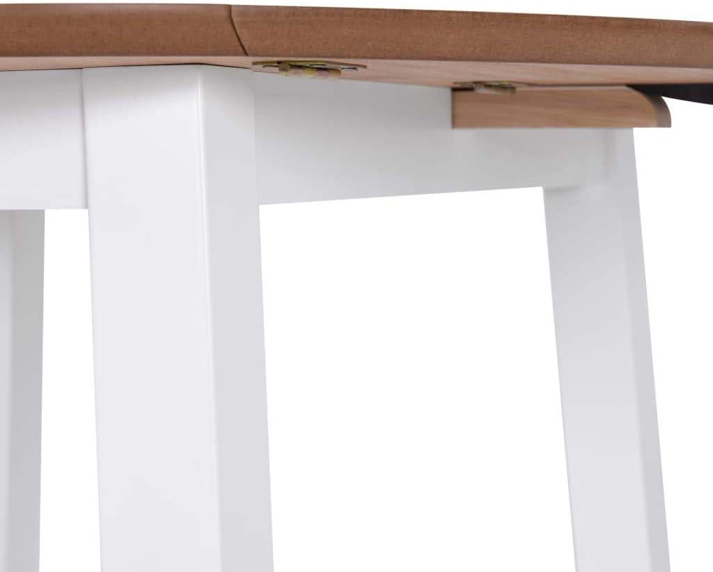 vidaXL Tavolo per Sala da Pranzo con Ali Rotondo in MDF Bianco Tavolino Salone