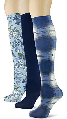 Knee High Trouser Socks w/Colorful Printed Patterns - Made in USA by Sox Trot (3 Blue -