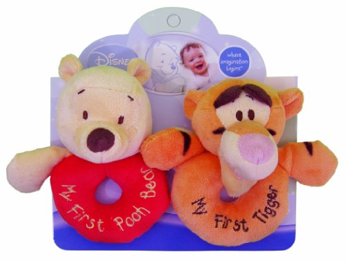 Kids Preferred Disney Baby, Plush Ring Rattles - Winnie the Pooh and Tigger (Baby Tigger)