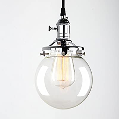 Industrial Factory Pendant Lamp 5.9 inch Round Clear Glass Globe Modern Vintage Style Hanging Pendant Light Fixture with Clean Finish Glass Shade Fabric Wrapped Cord Exposed Hardware by Pathson Lights