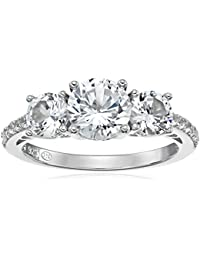 Sterling Silver Created White Sapphire Engagement Ring, Size 7