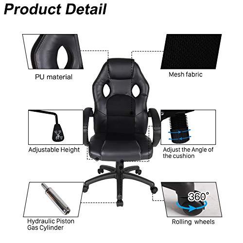 Polar Aurora Office Chair PU Leather High Back Ergonomic Adjustable Racing Desk Chair Task Swivel Executive Computer Chair (BLK)