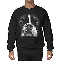 Big Boston Terrier 3D Face Flag Men's Crewneck Sweatshirt Sweater (Small, BLACK)