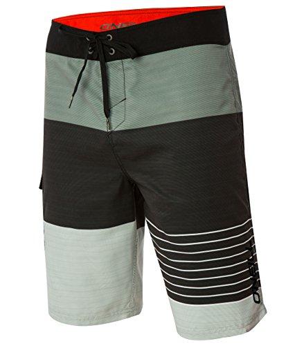 Phantom Aquatics Oneill Mens Stripe Boardshort, Asphalt - 32, Steel Grey, Size 32 - Embroidered Suede Boardshorts