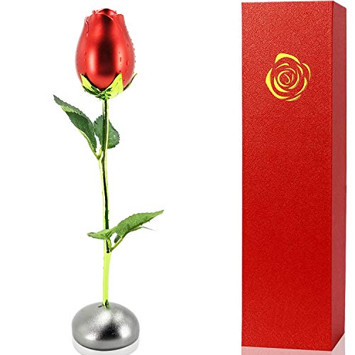AmeriLuck Artificial Metal Flower Long Stem Rose with Pebble Stand, Best Gift for Birthday, Valentine's Day, Mother's Day, Anniversary, Wedding (Red)