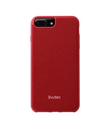 iPhone 6 Plus/6s Plus/7 Plus/8 Plus, Evutec AERGO Series Ballistic Nylon Wireless Charging Compatible Premium Protective Phone Case -Red (AFIX+ Magnetic Mount Included) ()