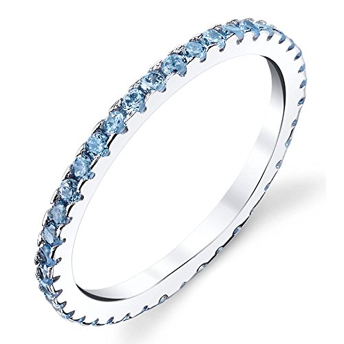 1/2 Ct Blue Topaz Ring - Solid 925 Sterling Silver Stackable 0.50 CT TW Ring Micro Pave Eternity Wedding Band CZ Light Blue Topaz