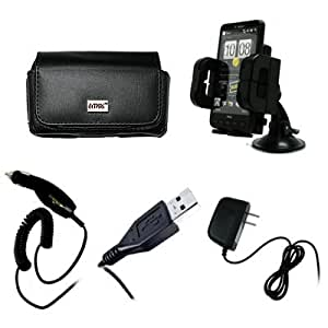 EMPIRE Adjustable Car Windshield Mount + Black Leather Case Pouch with Belt Clip and Belt Loops + Car Charger (CLA) + Home Wall Charger + USB Data Cable for U.S. Cellular Samsung Character