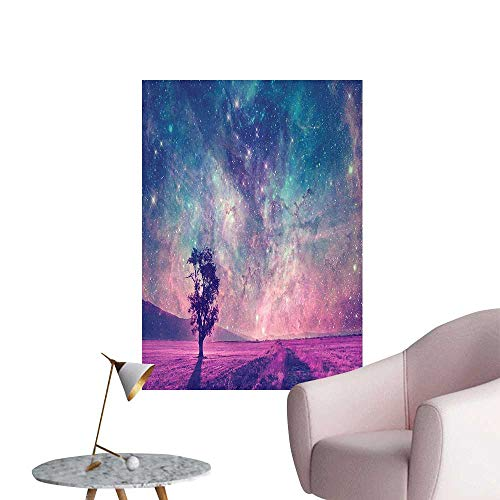 Vinyl Artwork Galaxy NASA Furnished Elements Artwork and Lonely Tree Accessories Navy Dark Magenta Easy to Peel Easy to Stick,32