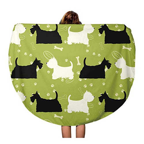 Semtomn 60 Inches Round Beach Towel Blanket Green Pattern Dogs Silhouettes Scottie and Westie Scotland Terrier Travel Circle Circular Towels Mat Tapestry Beach Throw