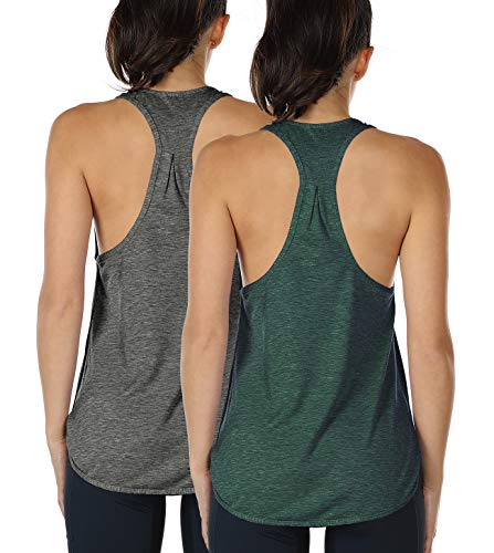 4fd93fd6a0056 icyzone Workout Tank Tops for Women - Athletic Yoga Tops, Racerback Running Tank  Top (XL, Charcoal/Army)
