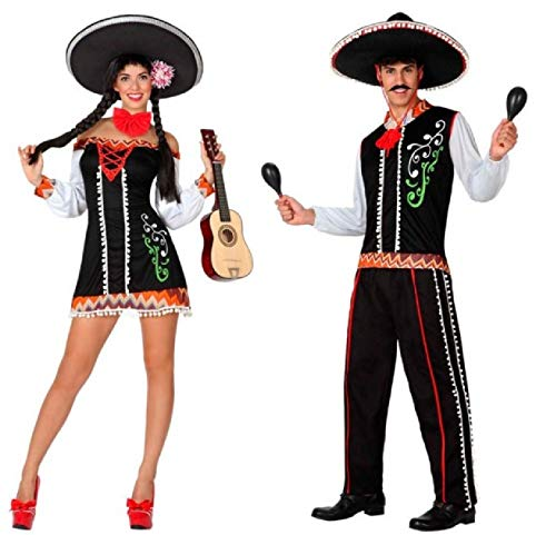 Couples Ladies & Mens Matching Traditional Mexican Around The World International Carnival Fancy Dress Costume Outfit (Ladies UK 12-14 & Mens X-Large)