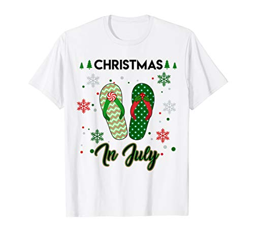 Santa Flip Flops Christmas In July T-shirt Summer Xmas -