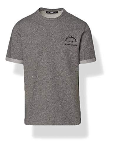 KARL LAGERFELD Mens Lounge Baby Terry Logo T-Shirt, Grey Melange, XS