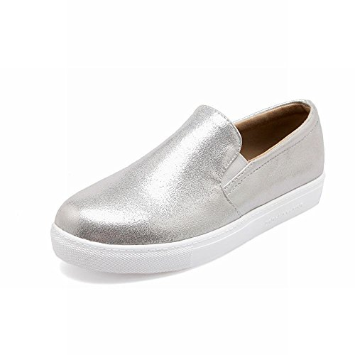 Carolbar Womens Fashion Shiny Cuff Street Casual Simple Comfort Flats Shoes Silver aKGZ0NBO3G
