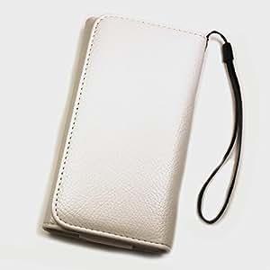 Funda estilo libro de piel sintética color blanco XXL para Samsung Galaxy Premier I9260