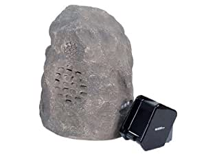 C2G/Cables to Go Audio Unlimited 900MHz Wireless Indoor/Outdoor Rock Speaker (Rechargeable) with Dual Power Transmitter, Granite (SPK-ROCK3)