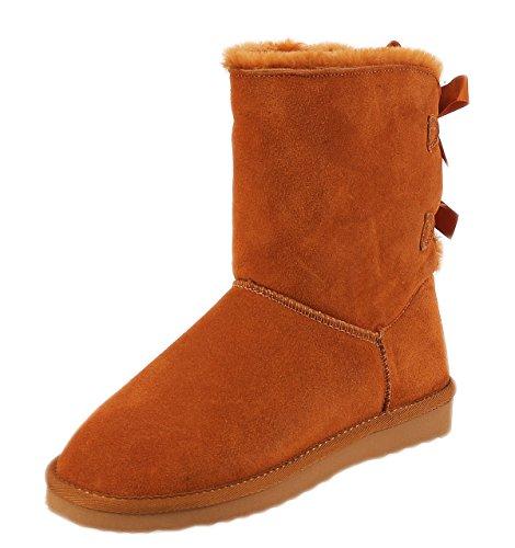 SKUTARI Wildleder Damen Frauen Winter-Boots   Warm Gefüttert   Schlupf-Stiefel mit Stabiler Sohle   Schleife Pailletten Glitzer Meliert Schuhe Camel 2