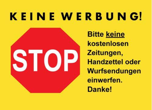 Keine Werbung AufkleberInsgesamt 9 St/ück f/ür Briefkasten Briefkastenaufkleber Keine kostenlose Zeitung Bitte keine kostenlosen Zeitungen und Reklame einwerfen