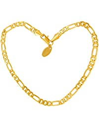 Gold Ankle Bracelets for Women Men   Teen Girls   24k Real Gold Plated 4mm  Figaro Chain Anklet   Beach or Party Foot Jewelry with Free Lifetime  Replacement ... ee58be734f51
