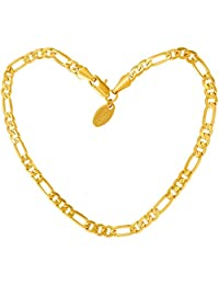Lifetime Jewelry Anklets for Women Men and Teen Girls - 24K Real Gold Plated 4mm Figaro Chain - Durable Ankle Bracelet - Wear to Beach or Party - Cute Surfer Anklet - 9 10 and 11 inches