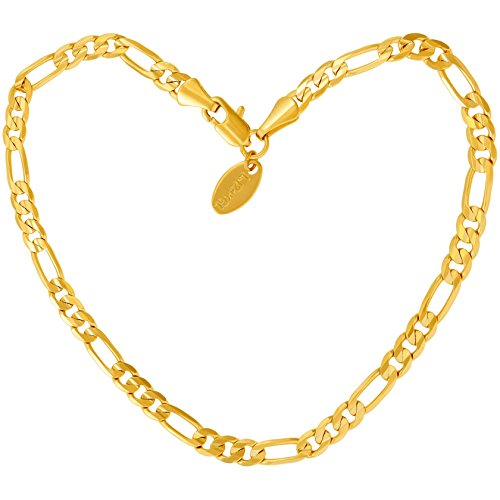 (Lifetime Jewelry Gold Ankle Bracelets for Women Men & Teen Girls [ 24k Real Gold Plated 4mm Figaro Chain Anklet ] Beach or Party Foot Jewelry 9