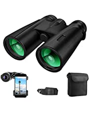 Binoculars for Adults, 12x42 Compact Binoculars for Bird Watching,Hunting,Sports Events,Travelling, Adventure and Concerts, BAK4 Prism FMC Lens with Smartphone Adapter Strap Carrying Bag