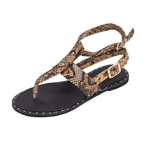 Sandals Flats for Women,✔ Hypothesis_X ☎ Summer Bohemian Sandals Open Toe Snake Pattern Buckle Roman Sandals Brown