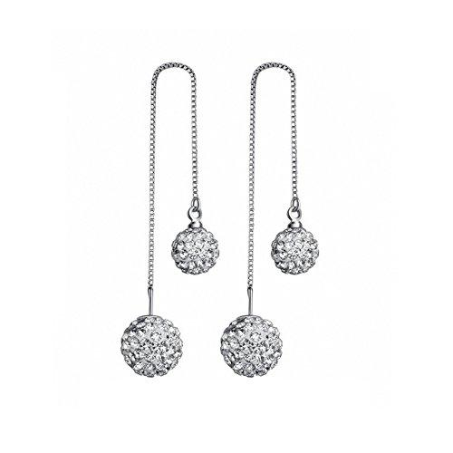 KOREA-JIAEN S925 Sterling Silver Earrings with 10mm Pure Natural Bead Charm Pendant Ear Line (Shambhala)