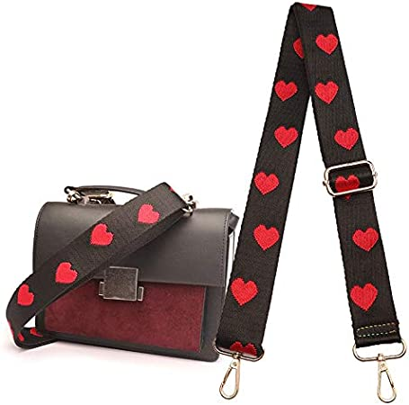 CheeseandU Adjustable Handbag Strap Purse Strap Replacement Guitar Style Canvas Crossbody Shoulder Bag Strap for Handbags Purse Making Accessory Valentines day Gift Rose Flower Style