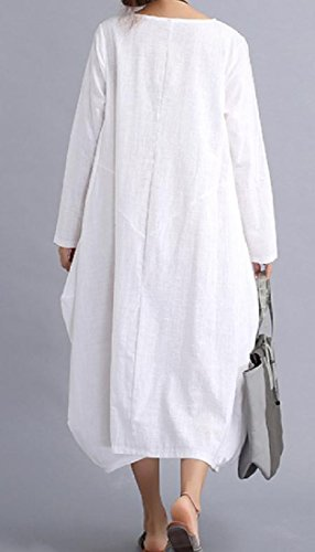 Size Lino Selvatici Donne Comodi Vestito Metà Di Solido Lunghezza Moda Bianco Plus Delle c8g4H