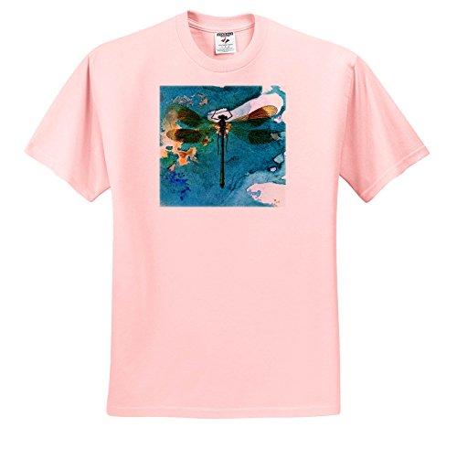 Cassie Peters Digital Art - Dragonfly - T-Shirts - Adult Light-Pink-T-Shirt Small (ts_283684_34)