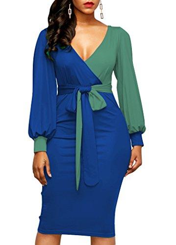 LAVENCHY-Women-Vogue-Long-Lantern-Sleeve-Waist-Belt-Sexy-Slim-Skirt-Dress