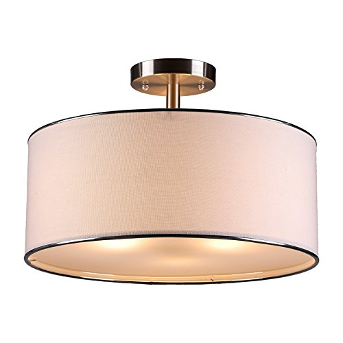Contemporary Fixture (CO-Z Brushed Nickel 3-Light Drum Chandelier, Semi Flush Mount Contemporary Ceiling Light Fixture with Diffuse Shade for Kitchen, Hallway, Dining Room)