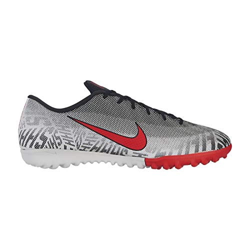 Nike Men's Mercurial Vapor XII Academy Neymar TF-White/Black/Challenge Red (7.5) (Tf Nike Soccer Mercurial Shoes)