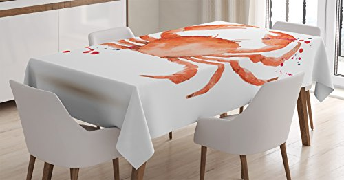 Ambesonne Crabs Decor Tablecloth, Sea Animals Theme Watercolor Style Effect a Big Crab on White Background Print, Dining Room Kitchen Rectangular Table Cover, 60 W X 90 L inches, Orange by Ambesonne
